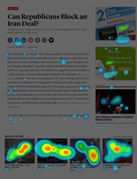 Native Ads - heatmap das áreas mais clicadas