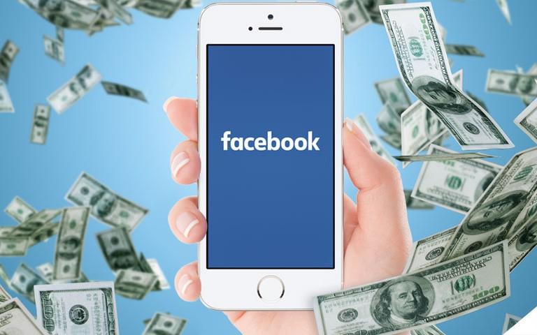 Smartphone com Facebook e uma chuva de dinheiro